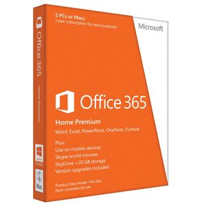 Picture of Microsoft Office 365 Home 32/64-bit English 1 Year Subscription (No Media, 1 License, 5 PC/Mac Installs)